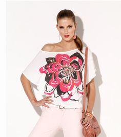 Camiseta mujer manga corta estampado flor Moda Mujer T3 Venca
