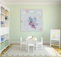This 'Butterfly And Chamomile Clouds' print will enchant a playroom.