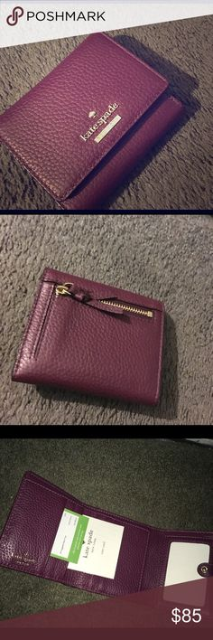 ✨FLASH SALE✨❕Kate Spade: Tri-fold Wallet Brand new and unused. Many compartments and slots for cold. Coin holder with zipper on back of wallet. Inside interior pin stripped. kate spade Bags Wallets