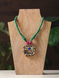 Buy Green Pink Silver Thread Brass Necklace Alloy Fashion Jewelry Necklaces/Pendants A Boho Statement Stand out in dramatic and coin necklaces Online at Jaypore.com