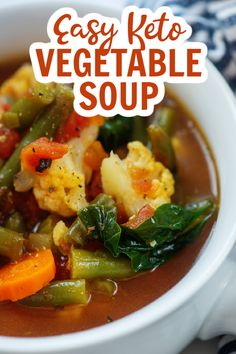 This easy keto vegetable soup is a hearty, filling, and nutritious meal for any weeknight! Loaded with all kinds of low carb vegetables, it's an easy way to get a nutritious meal in my kids and it's perfect for a low carb lifestyle. #ketosoup #lowcarbsoup Low Carb Chicken Recipes, Healthy Low Carb Recipes, Low Carb Dinner Recipes, Keto Recipes, Vegetarian Recipes, Keto Dinner, Shrimp Recipes, Vegetarian Low Carb Meals, Healthy Soups