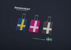 人気のinnovatorスーツケース! 北欧フラッグをモチーフにしたスーツケースです。 鞄メーカーの株式会社トリオ http://www.trio1971.com/innovator_info/index.html