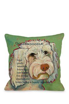 Golden Doodle 1 Throw Pillow with Zipper on HauteLook