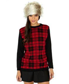 Claudie Tartan Fleece Jumper - Knitwear - Missguided
