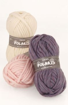 DROPS Polaris is a single strand yarn, spun in the same soft wool as DROPS Eskimo. The wool fibers are unprocessed, which means that they are only washed and not exposed to any chemical treatment prior to the dyeing. This highlights the fibers' natural properties, providing also a better shape and texture qualities.    DROPS Polaris is specially good for outerwear garments, such as hats, scarves, bags and ponchos. Knits quickly and with the same gauge as DROPS Eskimo held double.