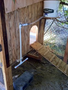Great nipple waterer idea for the chicken coop if you do not have a mains supply hooked up.