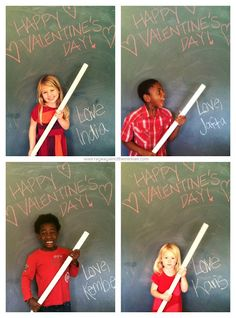 Lollipop Valentines - she took the picture with them holding the pipe and then added the lollipop in after the picture was printed.
