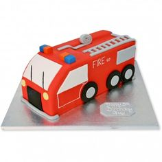 Fire Engine Cake freshly made, delicious and delivered Olaf Frozen Cake, Fire Engine Cake, Fire Cake, Fire Fighter Cake, Truck Cakes, Cake Makers, Cakes For Boys, Cake Tutorial, Themed Cakes