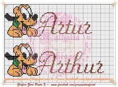 Depois de criar o monograma do Pluto fiz os nomes dos meninos   Da trabalho mas fica lindo!!!!   Créditos do gráfico da Zaré Ponto X .     ... Cross Stitch Bookmarks, Cross Stitch Alphabet, Cross Stitch Baby, Disney Letters, Stitch Cartoon, Baby Cartoon, Mickey Minnie Mouse, Le Point, Art Girl