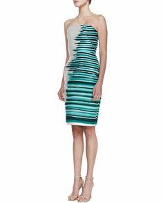 Lela Rose Silk-Embroidered Strapless Cocktail Dress, Jade/Multi - Neiman Marcus