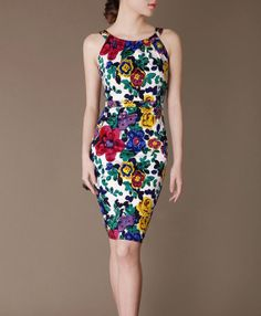 Summer Floral Dress Elegant Formal Dress Sleeveless by Chieflady, $105.00