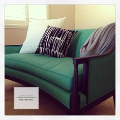 A wonderful blend of Antibes Green, Florence and Aubusson Blue Chalk Paint® decorative paint by Annie Sloan for the fabric of this settee and Graphite for the frame. | By Carrie of Thirty Eighth Street