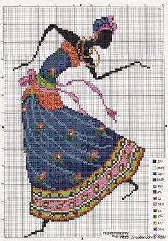 point de femme africaine dansant - cross stitch african woman dancing