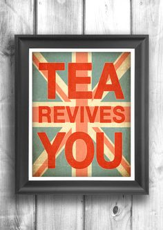 Tea Time Typographic Print Quote art by HappyLetterShop on Etsy, $22.00 [for the coffee/tea bar]