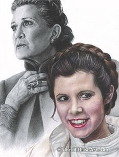 Drawing Print of Colored Pencil Drawing of Carrie Fisher as Princess Leia in Star Wars x Carrie Fisher, Frances Fisher, Princesa Leia, Star Wars Facts, Star Wars Humor, Star Trek Enterprise, Star Trek Voyager, The Blues Brothers, Han And Leia