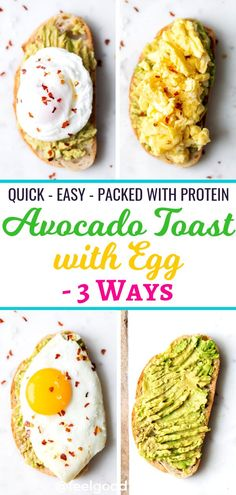 Toast with Egg – 3 Ways Quick and easy Avocado Toast with Egg 3 ways - fried, scrambled, and poached. It's a simple healthy protein-packed breakfast, snack or light meal! Healthy Breakfast Snacks, Healthy Protein Snacks, Avocado Breakfast, Breakfast Toast, Quick Healthy Meals, Clean Eating Snacks, Healthy Breakfasts, Healthy Recipes, Protein Recipes