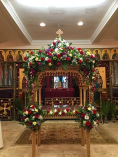 Church Flower Arrangements, Church Flowers, Floral Arrangements, Orthodox Easter, Greek Easter, Church Decorations, Easter Flowers, Holy Week, Llamas