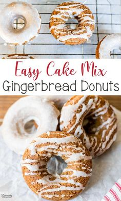 Cake mix gingerbread donuts are a festive and easy treat to enjoy during the holiday season. They can be dunked or drizzled with icing and then finished with cinnamon sugar. Holiday Desserts, Just Desserts, Holiday Recipes, Dessert Recipes, Christmas Recipes, Winter Recipes, Christmas Treats, Pie Recipes, Christmas Cookies