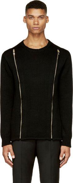 Christian Dada: Black Knit Zip-Front Sweater | SSENSE