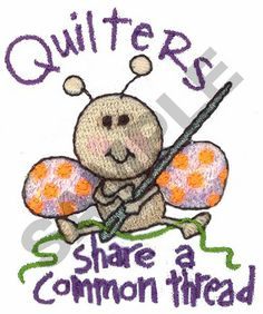 Great Notions Embroidery Design: QUILTERS 2.50 inches H x 1.97 inches W