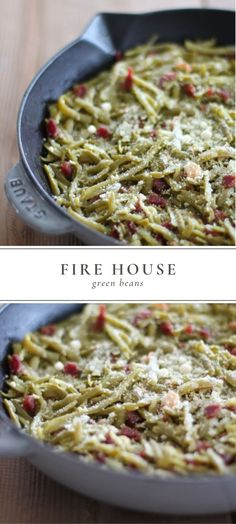 Step aside green bean casserole, Firehouse Green Beans with Bacon are an easy, last-minute side dish for holidays with the best blend of garlic, parmesan and bacon that will have green bean haters begging for the recipe! French Cut Green Beans Recipe, Green Beans With Bacon, French Green Beans, Vegetable Casserole, Green Bean Casserole, Side Dish Recipes, Vegetable Recipes, Dinner Recipes, Fall Recipes