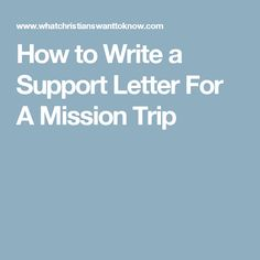 Writing the Perfect Support Letter
