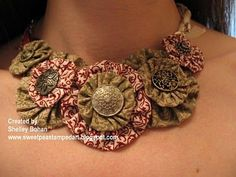 Cloth Yo-Yos | Stampin' Up! Fabric necklace, suffolk puffs and antique brads