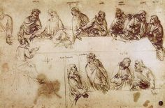 Study for the Composition of the Last Supper, Leonardo da Vinci, Accademia, Venice Hieronymus Bosch, Leonardo Da Vinci Biography, Dan Brown, Pieter Brueghel El Viejo, The Last Supper Painting, Da Vinci Inventions, Maria Magdalena, Annibale Carracci, Drawing Practice