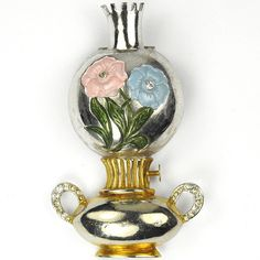 Silson Oil Lamp with Enamelled Flowers Decoration Pin Clip