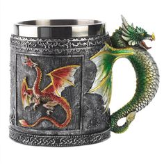 Dragon Mug Faucet Cup Double Wall Stainless Steel Canecas Coffee Cup Mug Copos water bottle cups  and mug Container Wholesale