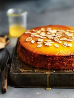 mandarin and polenta syrup cake from donna hay winter issue 69 (Gluten Free Recipes Cupcakes) Slow Cooker Desserts, Just Desserts, Delicious Desserts, Yummy Food, Sweet Recipes, Cake Recipes, Dessert Recipes, Dessert Ideas, Food Cakes