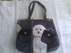 """NEW WITH TAGS 100% AUTHENTIC FUZZY NATION BICHON HANDBAG CASUAL PURSE 12"""" X 14"""" #FUZZYNATION #ShoulderBag"""
