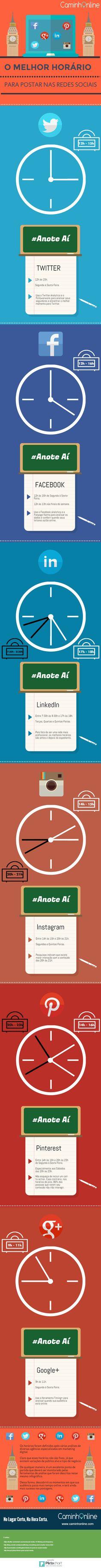 redes sociais horário para postar