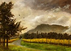 Road Through Constantia Uitsig - Oil on paper. 30 x 23 cm. This is the view I had when I worked in the wine shop on Constantia Uitsig from 2008 until 2014. These were the Sauvignon and Semillion vines turning yellow in Autumn. The road leads up to the restaurants. Sadly, none of this exists anymore, as new owners bought the farm, pulled out the vines, closed the famous restaurants, and evicted the families who had been living and working on the farm for generations.