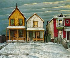 Lawren Harris Houses IN Winter, Canadian Group of Seven Tom Thomson, Emily Carr, Group Of Seven Art, Group Of Seven Paintings, Canadian Painters, Canadian Artists, National Art, House Painting, Home Art