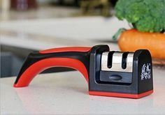 JMR SoftGrip Handle 2 Stage Professional Knife Sharpener Best for Sharpening Kitchen Ergonomically Design * You can find more details by visiting the image link.  This link participates in Amazon Service LLC Associates Program, a program designed to let participant earn advertising fees by advertising and linking to Amazon.com.
