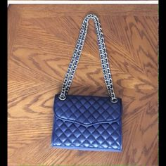 "❌FIRM❌Rebecca Minkoff Navy Quilted Leather Bag Beautiful navy quilted leather bag with silver chains. 9"" x 6"". Includes dust bag. Price is firm. Rebecca Minkoff Bags"
