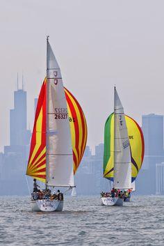 Tartan Ten North American Championship regatta on Lake Michigan, Chicago, Illinois. Photo by Stan Mehaffey.