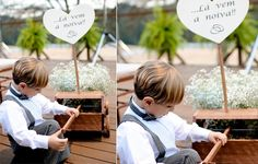 The YW loves the presence of the children dring the wedding, and on the union of Eliza & Daniel, this page boy wearing suspenders and bow tie won proeminence with his wagon to announce the entrance of the protagonist. See more details of this beautiful meadow wedding: http://yeswedding.com.br/en/acontece/eliza---daniel/ (Photo: Rejane Wolff)
