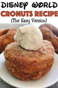 A super easy recipe for Disney World Cronuts Cheater Cronuts that will knock your socks off Layers of delicious puff pastry dough fried to perfection and covered in cinnamon and sugar Just like Epcot Disney Desserts, Köstliche Desserts, Delicious Desserts, Dessert Recipes, Yummy Food, Disney Food Recipes, Easy Recipes For Desserts, Copycat Recipes Desserts, Gourmet Recipes