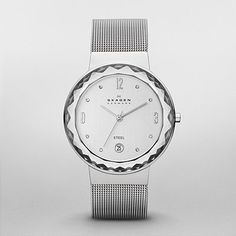 SKAGEN: Classic Silver Tone Mesh Womens Watch - love the glass-faceted on the edge and the date! $125