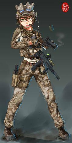 Anime girls with guns part & Manga Anime Military, Military Girl, Guerra Anime, Manga Art, Anime Art, Comics Anime, Character Art, Character Design, Sarada Uchiha
