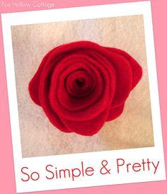 Felt Flower Tutorial So Easy. Valentines Days Ideas #Valentines, #pinsland, https://apps.facebook.com/yangutu