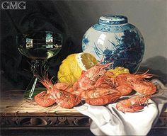 Edward Ladell   Still Life with Prawns, a Lemon, Wine Glass and Delft Pot, undated