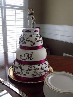 Ivory and Burgandy Wedding Cake...I love the cake topper!