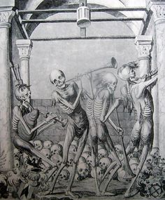 ''And the Dead came to Dance '' {black and white photograph of a danse macabre painting that looks to be from the late 1500's}