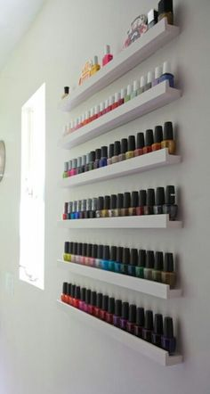 Make up organization & storage in master bedroom closet or bathroom with picture ledge. More picture ledge ideas. - Organised Pretty Home Ribba Picture Ledge, Picture Frames, Rangement Makeup, Nail Polish Storage, Nail Polish Wall Rack, Organizing Nail Polish, Storing Nail Polish, Nail Polish Stand, Nail Polish Holder