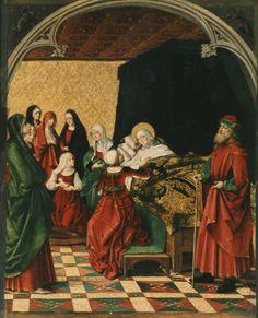 Pedro Berruguete, El Nacimiento de la Virgen (1485-90). Retablo Mayor de Santa Eulalia, Paredes de Nava, Palencia.