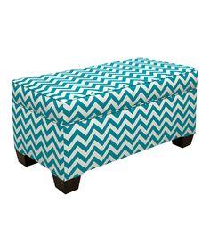 Turquoise Zigzag Storage Bench | zulily