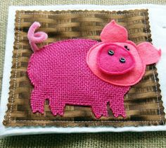 """Pink Pig has a wonderful burlap body to """"touch and feel"""" in a delightful #quiet book called Rainbow Farm. It's great for the littlest ones with simple animal figures and color matching...(the snout is removable!) LindyJ Design"""